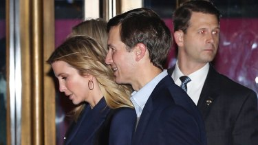 Ivanka Trump and her husband Jared Kushner leave the 21 Club after dining with President-elect Donald Trump on Tuesday.