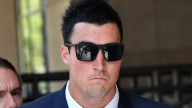 Joel Morrison outside the Magistrate's court for an earlier hearing.