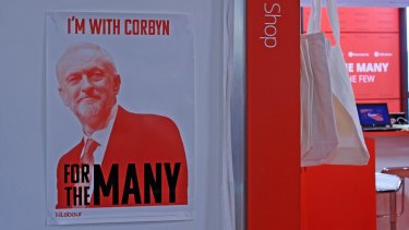 Jeremy Corbyn posters for sale at the annual Labour Party conference in Brighton.