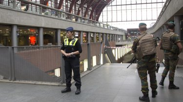 Heightened security at Antwerp Central train station on Saturday.