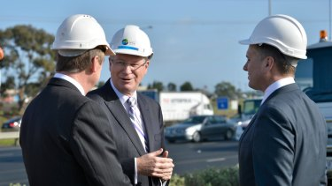 Premier Denis Napthine visits a future East-West Link building site.