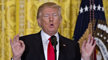 """The press honestly is out of control"": Trump during a solo news conference on Thursday."