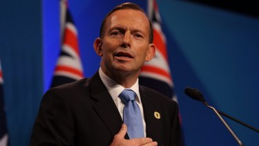 Awkward moment: Prime Minister Tony Abbott.