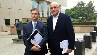 Environmental Defenders Office solicitor Sean Ryan and ACF president Peter Cousins outside the Federal Court in Brisbane on Monday.