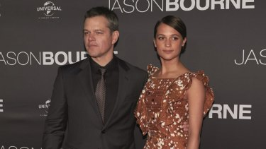 Matt Damon and Alicia Vikander at the premiere of <i>Jason Bourne</i> at Moore Park, Sydney, on July 3.