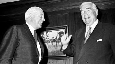 Prime Minister Robert Menzies meeting with his successor Harold Holt at Parliament House in Canberra on 20 January 1966.