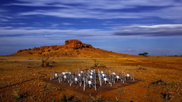 "One of the 128 radio telescope ""tiles"" at the Murchison Wide Field Array radio telescope in Western Australia."