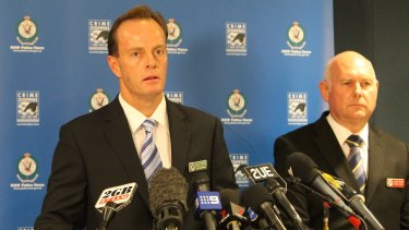 Then homicide squad chief Detective Superintendent Peter Cotter and head the Lin investigation Detective Inspector Chris Olen announce Xie's arrest in May 2011.