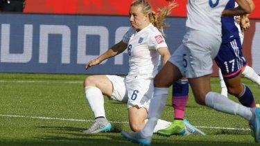 Fateful moment: Bassett unleashes the shot on her goal.