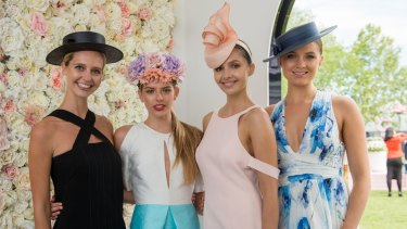 The make-up looks created by L'Oreal for the Spring Carnival, for (from left) Derby Day, Melbourne Cup Day, Oaks Day and Stakes Day.
