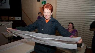 Pauline Hanson votes at Jamboree State School on Saturday.
