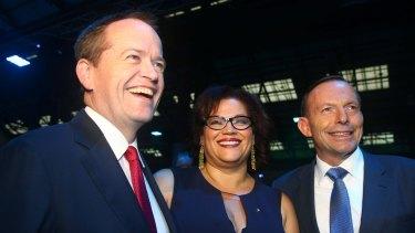 Opposition Leader Bill Shorten, Recognise campaign director Tanya Hosch, with former prime minister Tony Abbott in December 2014.