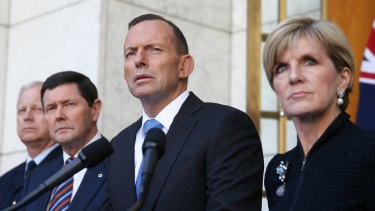 Chief of the Defence Force Air Chief Marshal Mark Binskin, former defence minister Kevin Andrews, former prime minister Tony Abbott and Foreign Minister Julie Bishop announced Australia would take 12,000 refugees from Syria and Iraq in September 2015.