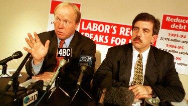 Former Queensland treasurer David Hamill (right) with former premier Peter Beattie in 1998.