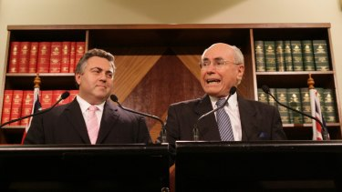 Prime Minister John Howard and Joe Hockey, then Minister for Employment and Workplace Relations, announce changes to the WorkChoices package in 2007.