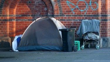 A camp set up in Melbourne.