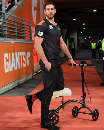 Mumford has not been allowed to put weight on his ankle and has been moving around aided, like he was during GWS' 2017 semi final.