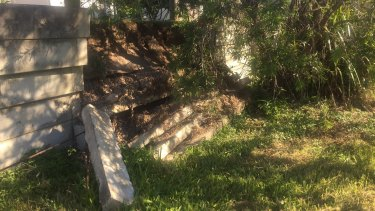 Damaged concrete retaining walls in Oxley.