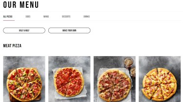 The new Pizza Hut website.