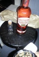 """""""Get it started"""": A bottle of Southern Comfort on Hugh Bacalla Garth's Facebook page."""