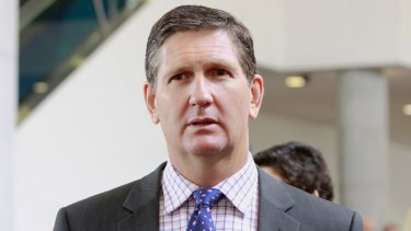 Health Minister Lawrence Springborg outside an LNP campaign lunch in the dying days of the Queensland election campaign.