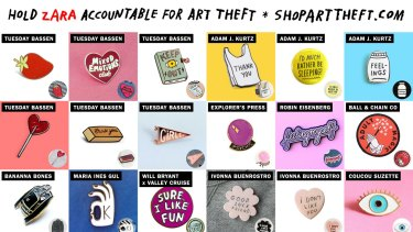A panel of some of the designs on the shoparttheft.com site, which designers allege have been stolen.