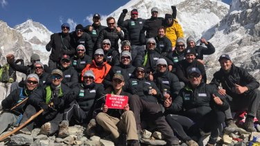 Tight bond: The group of former NRL players at Everest base camp.
