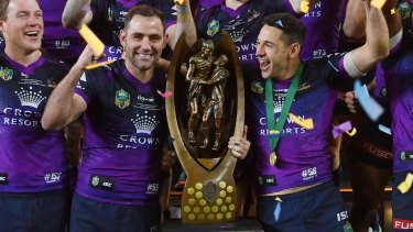 Perfect season: Skipper Cam Smith and Clive Churchill medal winner Billy Slater.