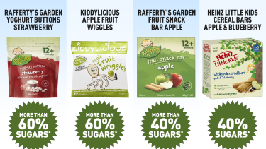 Packaged snacks targeted at babies and toddlers have more sugars than parents may realise, a CHOICE review has found.