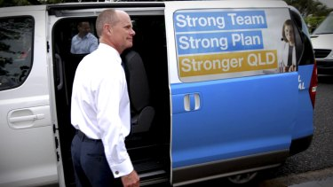 Premier Campbell Newman campaigns at Cannon Hill train station on Wednesday.