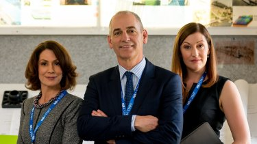 Kitty Flanagan, Rob Sitch and Celia Pacquola in television series Utopia.