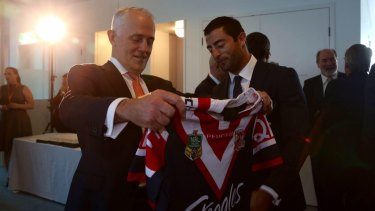 Rooster booster: Prime Minister Malcolm Turnbull with former Sydney Roosters player Anthony Minichiello.