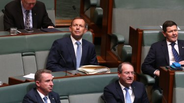 Former prime minister Tony Abbott pictured on the backbench.