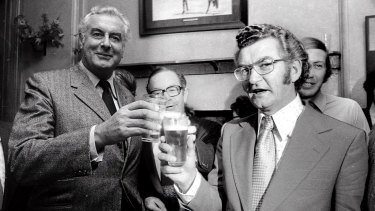 Bob Hawke, pictured with Gough Whitlam, is a legendary beer drinker.