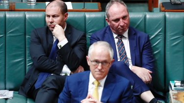 Minister for Environment and Energy Josh Frydenberg, Prime Minister Malcolm Turnbull and Deputy Prime Minister Barnaby Joyce on Monday.