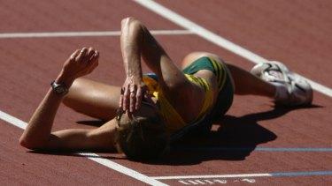 Kerryn McCann is overwhelmed after her victory.