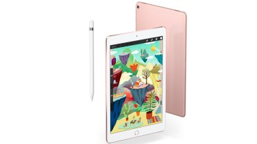 The new 9.7-inch iPad Pro in rose gold, with the Apple Pencil.