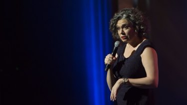 Lucy on stage for the TV special Judith Lucy's One Night Stan.