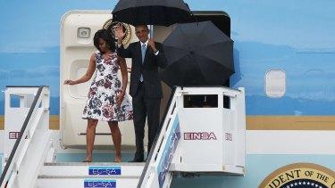 US President Barack Obama and Michelle Obama arrive at Jose Marti International Airport in Havana, Cuba.