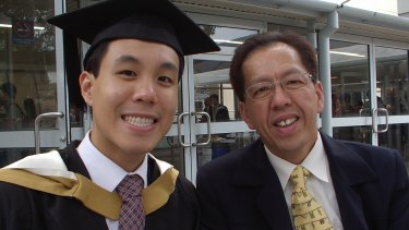 Curtis Cheng, who was shot dead outside Parramatta police headquarters, with his son Alpha.