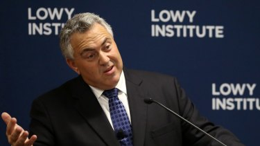 Joe Hockey speaking at the Lowy Institute on Thursday.