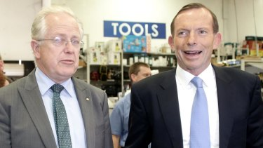 Tony Abbott tours a hardware store with Liberal candidate Dr Michael Feneley.