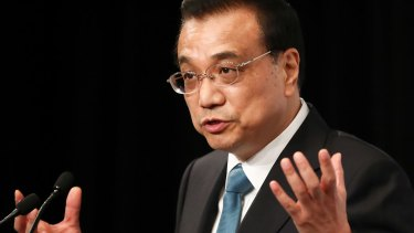 Li Keqiang, China's premier, speaks during the Australia China Economic and Trade Co-operation Forum in Sydney.
