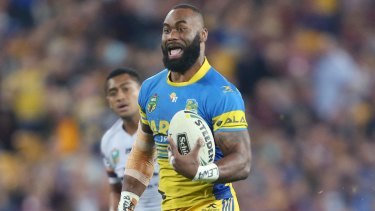 Unstoppable: Semi Radradra takes off for one of four tries against Brisbane.