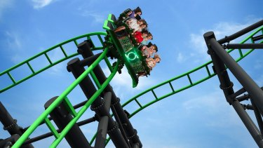The Green Lantern ride in action at Movie World.