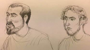 An artist's sketch of Hamza Abbas, left, and Ahmed Mohamed, in court over the alleged plot.
