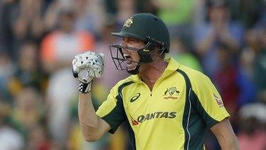 James Faulkner celebrates after batting partner Mitchell Marsh scored the winning runs.