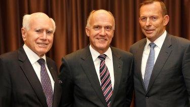 Senator Eric Abetz, with former PM John Howard and PM Tony Abbott, opposes same-sex marriage.