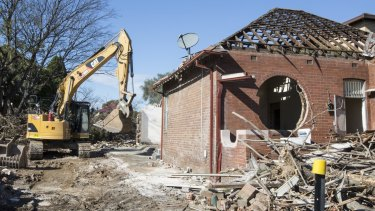 A federation house in Haberfield is demolished to make way for WestConnex.