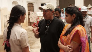 Director Tabrez Noorani with cast members on the set of <i>Love Sonia</I>.